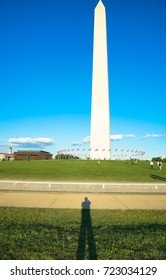 Man shadow at Washington monument