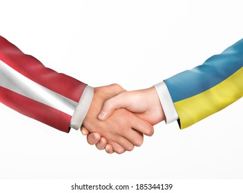 Man shake hands. Friendship countries. Flags of countries