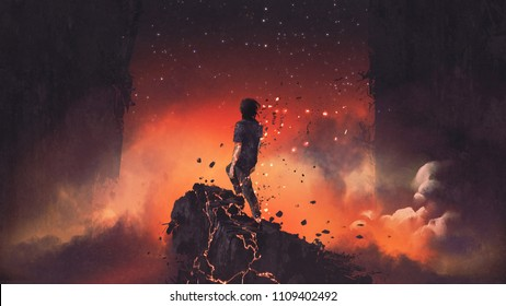 man shatterd into pieces standing a lava rock in surreal place, digital art style, illustration painting