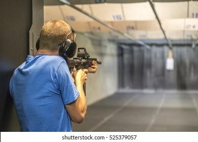 Man Shooting at Firing Range.