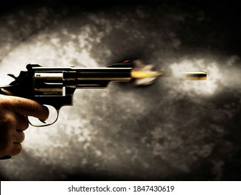 the man shoots from the revodler, the bullet goes at high speed and the thing smokes around him and flashes.