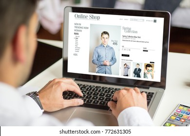 man shopping online with a laptop, All screen graphics are made up.