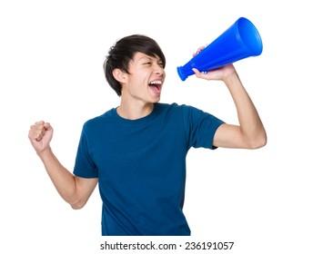Man shout with loud speaker