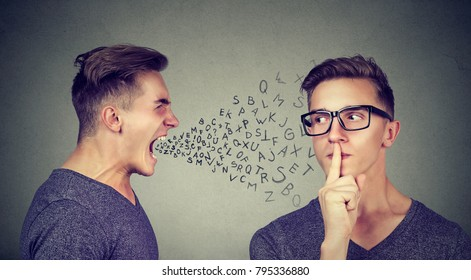 Man shouting with abusive words at another man trying to ask for silence.