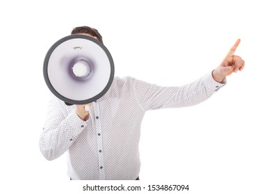 Man shouting with a megaphone. Man yelling into a megaphone.