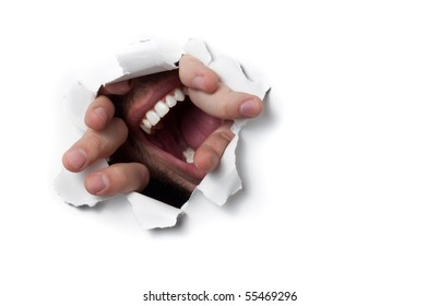 A man shouting through a hole on a thin wall or paper, isolated on white