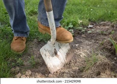 Man shoveling ground for landscape repair