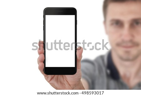 fe2d2b3a8dfb9 Man show black phone with isolated white screen for mockup. Isolated  background.