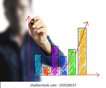 Man show drawing a graph business