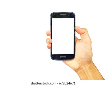 Man is show smartphone in hand