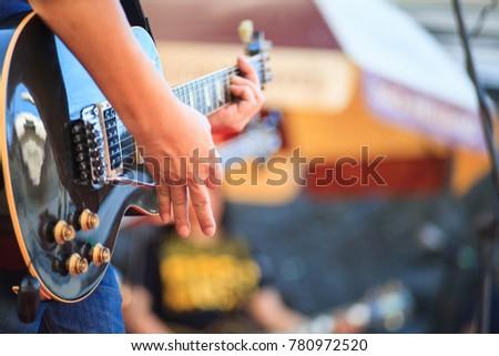 Man Show Technique Using Electric Guitar Stock Photo Edit Now