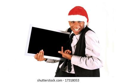 Man showing blank monitor screen
