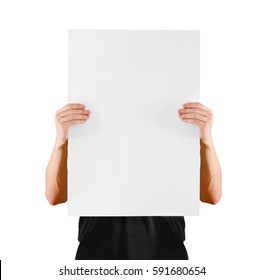 Man showing blank white big A2 paper, covers the face. Leaflet presentation. Pamphlet hold hands. Man show clear offset paper. Sheet template. Booklet design sheet display read first person.