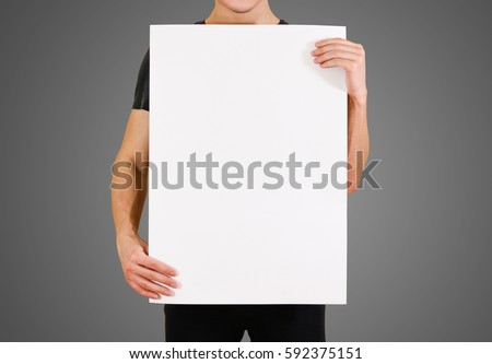 Man Showing Blank White Big A2 Paper Leaflet Presentation Pamphlet Hold Hands