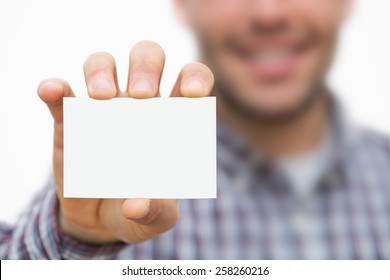Man showing business card