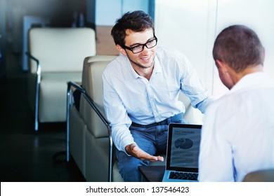 man showing diagrams