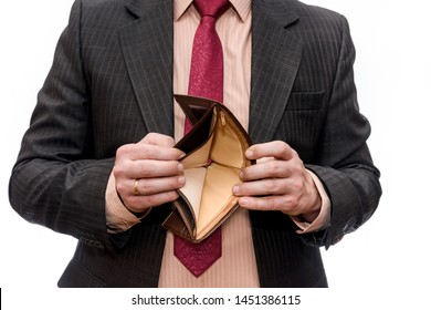 Man showing empty wallet isolated on white