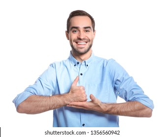 Man showing HELP gesture in sign language on white background