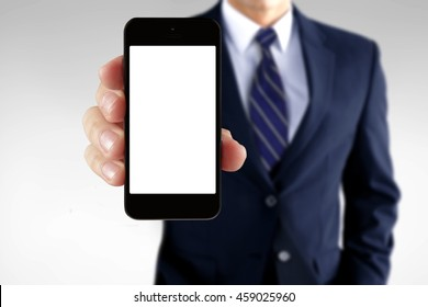 Man showing information on a smart phone