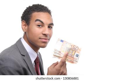 Man showing money