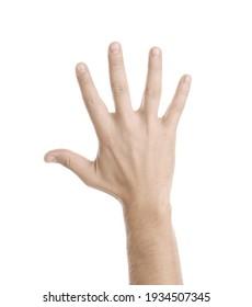 Man showing pale hand on white background, closeup. Anemia symptom