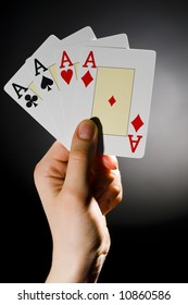 A man showing a playing-card trick