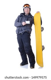 Man showing a ski pass copy space while holding his snowboard isolated on white