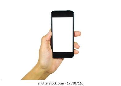 man showing smart phone with isolated screen in hand. Isolated on white.