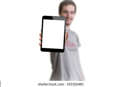 Man showing tablet with blank screen, Ipade style