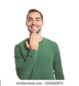 Man showing THANK YOU gesture in sign language on white background