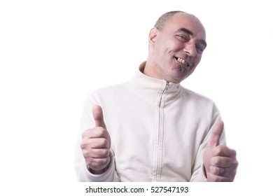 Man showing thumbs on white background