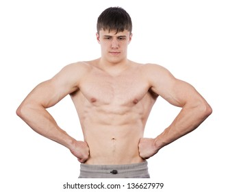 Man shows biceps on a white background