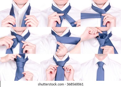 Man Shows How to Tie Necktie with Half Windsor Knot, Tutorial