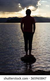 Man silhouette and Beautiful sunset