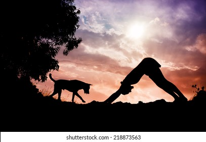 Man silhouette doing yoga with dog nearby in Gokarna, Karnataka, India