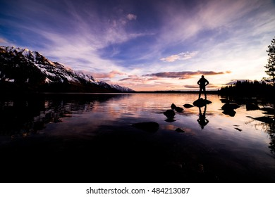Man Silhouette Grand Tetons Mountains Sunrise