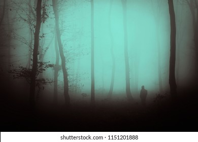 man silhouette in haunted forest, scary surreal landscape