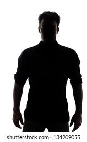Man in silhouette isolated on white background