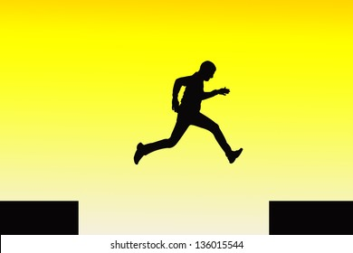 Man Silhouette Jumping from One place to Another with Yellow background