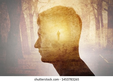 Man silhouette on gothic landscape background. Psychiatry, psychology,  concept, gothic, steampunk background