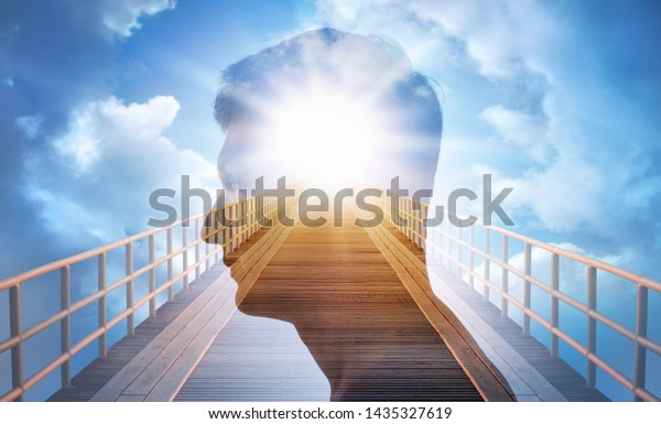 Man silhouette on heaven road background. Religion, psychiatry and psychology concept.