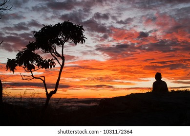 Man silhouette at sunrise in Brazil