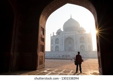 Man Silhouette View Taj Mahal