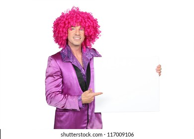 Man in silly seventies costume holding blank board ready for your message