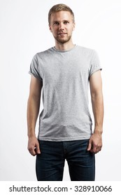 Man in a simple gray T-shirt