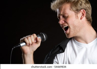 Man singer singing karaoke