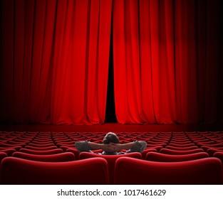 man sitting alone in VIP movie theater hall 3d illustration