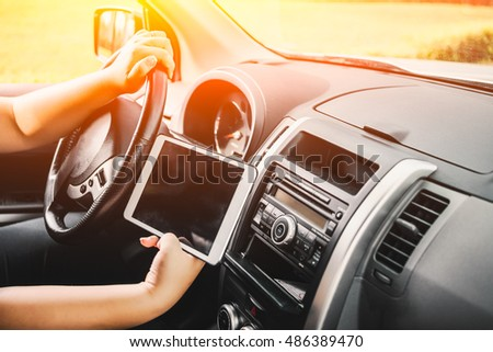 Man Sitting Car Holding Tablet Map Stock Photo (Edit Now