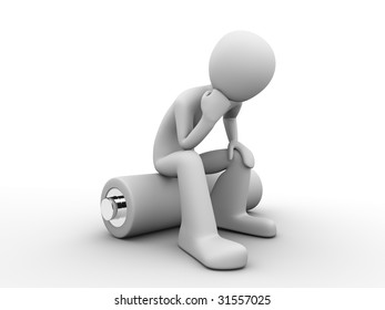 man sitting on a battery and thinking about saving energy resources