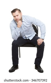 man sitting on chair. Isolated white background. Body language. gesture. Training managers. sales agents.  Pose interest. meditation